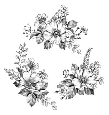 Hand drawn floral bunches with Dog-Rose flowers, small  wildflowers and leaves isolated on white background. Pencil drawing monochrome elegant composition in vintage style, t-shirt design, tattoo art. Banco de Imagens