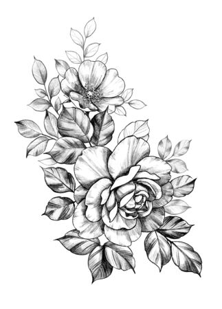 Hand drawn bunch with big rose and dog-rose flowers isolated on white background. Pencil drawing monochrome elegant floral composition in vintage style, t-shirt, tattoo design.