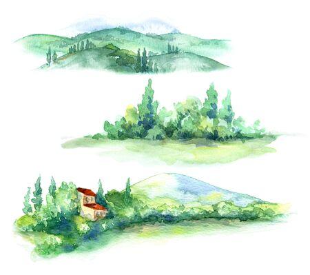 Handgezeichnete Fragmente der ländlichen Szene mit Haus, Hügel, Bäumen und Büschen Aquarellskizze. Fragmente der Sommerlandschaft. Standard-Bild