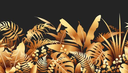 Seamless line horizontal pattern with golden tropical plants on black background. Foliage border made with leaves in row. Vector flat illustration. Ilustração