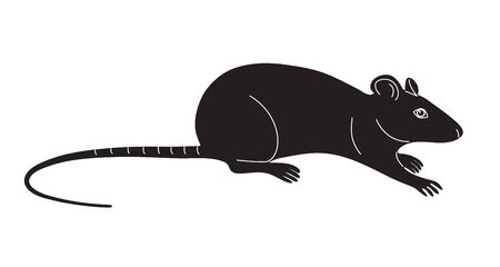 Simplified monochrome  field mouse isolated on white background. Black shape of rat vector flat illustration. Illustration