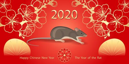 Greeting  New Year's card with golden  blossom and mouse rodent on red background. Rat is a symbol of the 2020 Chinese New Year. 向量圖像