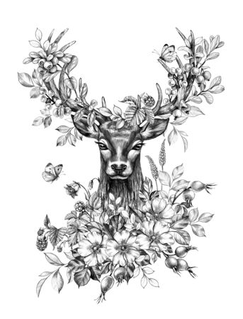 Hand drawn Deer decorated wildflowers, forest berries and flying butterflies. Pencil drawing monochrome elegant floral composition with animal head and plants in horns, t-shirt, tattoo design. Archivio Fotografico - 127807035