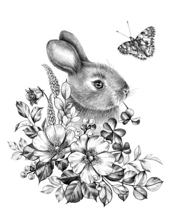 Hand drawn little hare with wildflowers and flying butterfly isolated on white. Pencil drawing monochrome floral composition with flowers and bunny in vintage style, t-shirt, termorary tattoo design.