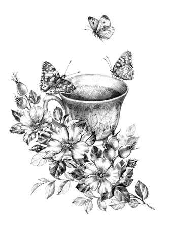 Hand drawn butterflies sitting on cup near flowers bunch isolated on white background. Pencil drawing monochrome floral composition with teacup and beautiful insects in vintage style. Archivio Fotografico - 129197661
