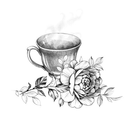 Hand drawn cup of hot tea with steam and rose isolated on white background. Pencil drawing monochrome floral composition with teacup and beautiful flower in vintage style. Stockfoto