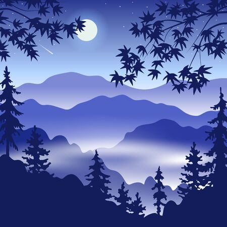 Simple night landscape with silhouette of foggy mountains, fir trees, full moon and Japanese maple branches. Nature background with serenity oriental scene. Vector flat illustration.