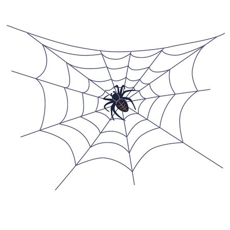 Black spider on web isolated on white background. Halloween simple element decor,  vector flat illustration.