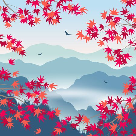 Simple autumn landscape with blue foggy mountains, Japanese maple red leaves and  branches. Nature background with serenity oriental scene. Vector flat illustration.