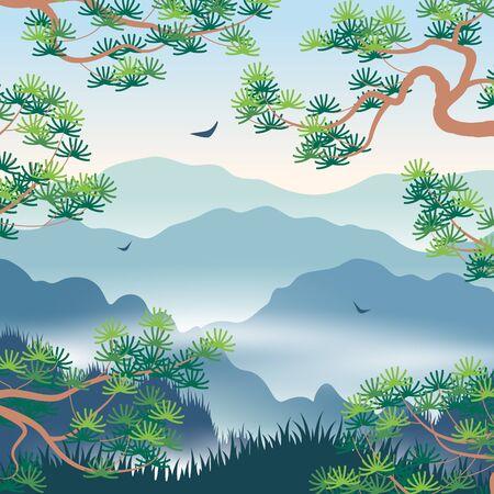 Paesaggio semplice con montagne nebbiose blu e rami di pino coreano. Fondo della natura con la scena orientale di serenità. Illustrazione piana di vettore. Vettoriali