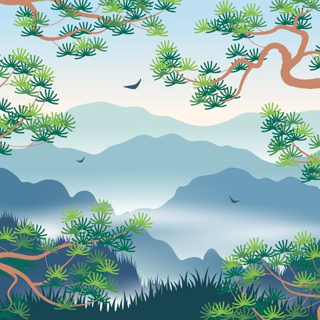 Simple landscape with blue foggy mountains and  Korean Pine branches. Nature background with serenity oriental scene. Vector flat illustration. Stockfoto - 130546365