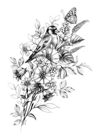 Hand drawn goldfinch and butterfly sitting on wildflowers bouquet isolated on white background. Pencil drawing monochrome floral composition with bird and field  flowers in vintage style, t-shirt, tattoo design Archivio Fotografico - 131434661