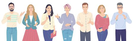 Friendly speaking men and women cartoon characters in strict and casual clothes isolated on white. Concept of young team at lecture, workshop, seminar. Group of people vector flat illustration.