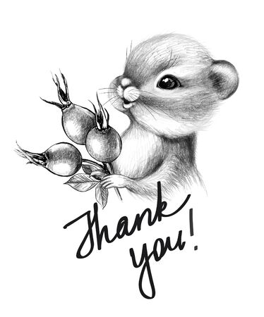 Hand drawn cute Chipmunk isolated on white background. Pencil drawing little furry rodent with big cheeks. Monochrome greeting card with cartoon animal holding berries, thank you inscription.