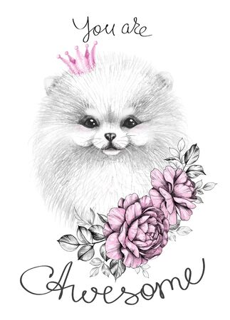 Hand drawn Pomeranian with pink crown and roses. Pencil drawing cute white puppy decorated flowers. Monochrome typography slogan with dog, you are awesome inscription. Clip art, print, t-shirt design.