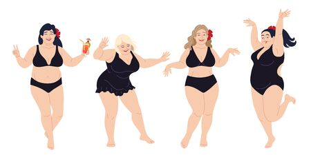 Dancing happy women in black swimming suits. Plus size girls isolated on white background. Vector illustration body positive, summer beach party concept.