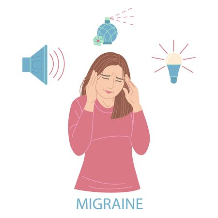 Woman with migraine pressing hands to head. Girl with headache isolated on white. Light bulb, loudspeaker and perfume as sign of sensitivity to light, sound and smell. Simple vector flat illustration.