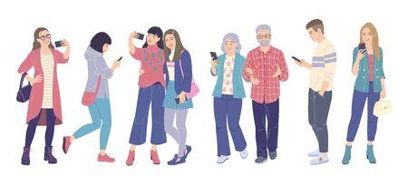 Hombres y mujeres con teléfonos inteligentes aislados en blanco. Las chicas y los chicos disparan en el móvil, se toman selfies y envían mensajes de texto en los teléfonos. Uso de dispositivos modernos en la vida cotidiana. Gente joven y anciana vector ilustración plana Ilustración de vector