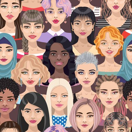 Modèle sans couture avec des visages ou des têtes de femmes. Groupe de jolies filles de dessins animés avec différentes coiffures, maquillage et couleur de cheveux. Toile de fond avec une foule de personnes multiculturelles sur fond sombre. Vecteurs