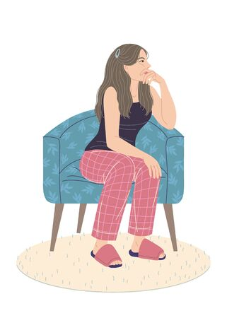 Pensive young woman sitting in armchair isolated on white. Sad girl in pajamas, slippers sits on chair and looks away. Feeling loneliness, apathy, emotional burnout concept. Vector flat illustration.