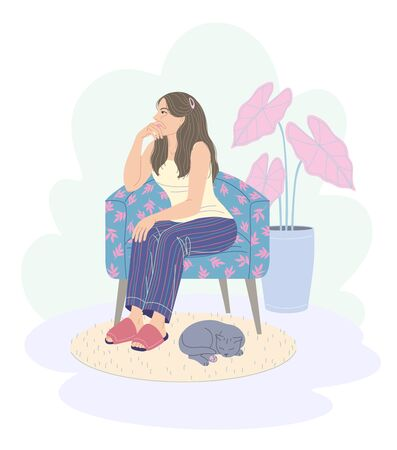 Pensive young woman sitting in armchair. Cozy room interior with cat sleeping on carpet and plant in pot. Dreamy girl in pajamas and slippers sits on chair and looks away. Vector flat illustration. Illusztráció
