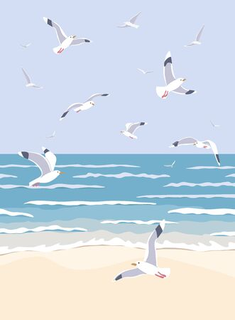 Simple natural background with sea coast scenery. Serenity landscape with blue water, small waves and flying seagulls in clear sky vector flat illustration.