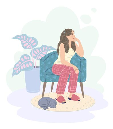 Pensive young woman sitting in armchair. Cozy room interior with gray cat sleeping on carpet and houseplant. Dreamy girl in pajamas and slippers sits on chair and looks away. Vector flat illustration.