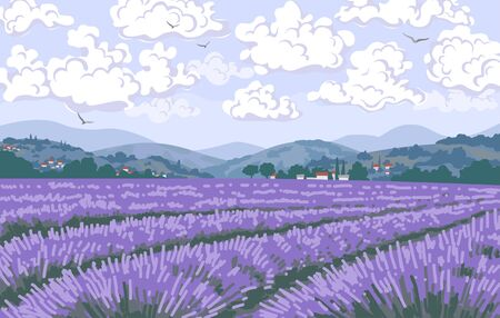 Simple natural horizontal background with blooming lavender field scenery. Serenity nature landscape with purple plants, mountains, floating clouds and flying birds in sky. Vector illustration.