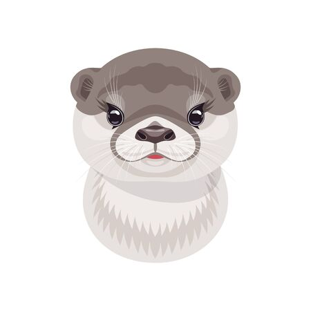 Funny river otter head isolated on white background. Cartoon cute animal muzzle vector flat illustration.