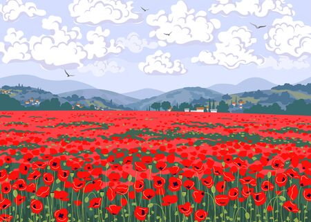 Simple natural horizontal background with red blooming poppies. Tuscany landscape with poppy field, hills, floating clouds and flying birds in sky. Serenity nature view vector illustration. Ilustracja