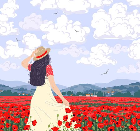 Young woman enjoys the scenery of poppies field. Dreamy girl in straw hat walking among red poppy flowers. Calm landscape with hills, floating clouds and flying birds in sky. Vector illustration.