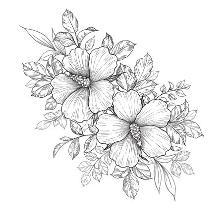 Hand drawn bunch with hibiscus flowers and different leaves isolated on white. Vector monochrome elegant floral composition in vintage style, t-shirt, tattoo design, coloring page, wedding decoration.