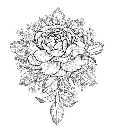 Bouquet de fleurs roses et petites gypsophiles dessinés à la main isolé sur blanc. Composition florale élégante monochrome vectorielle dans un style vintage, t-shirt, conception de tatouage, coloriage, décoration de mariage. Vecteurs