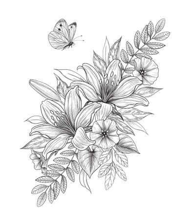 Hand drawn bunch with lily flowers and flying butterfly isolated on blank background. Vector monochrome elegant floral composition in vintage style, tattoo design, coloring page.