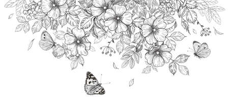 Hand drawn blooming flowers and butterflies on blank background. Black and white wildflowers and insects. Vector monochrome elegant floral composition in vintage style, template wedding decoration. Vektorgrafik