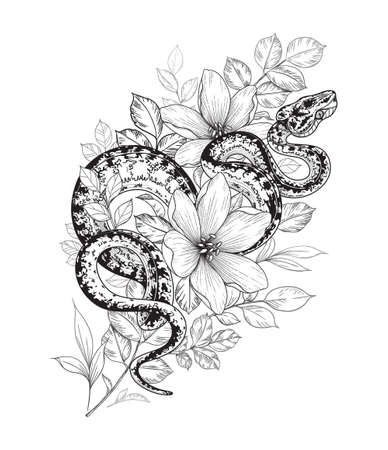 Hand drawn twisted snake among flowers isolated on white. Vector monochrome spotted garden tree boa and wildflowers. Floral illustration in vintage style, t-shirt design, tattoo art, coloring page.