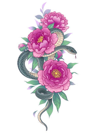 Hand drawn twisted Snake among peony flowers isolated on white. Vertical floral arrangement with serpent and pink peonies. Vector illustration in vintage style, t-shirt design, tattoo art.