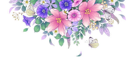 Hand drawn blooming pink and purple flowers and butterflies on white background. Vector elegant floral arrangement with colorful different wildflowers in vintage style, template wedding decoration.