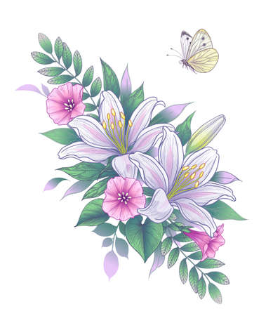 Hand drawn bunch with white lily flowers, pink convolvulus and flying butterfly isolated on blank background. Vector elegant floral arrangement in vintage style, tattoo design.