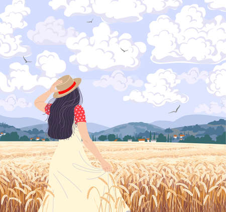 Young woman enjoys the wheat field scenery. Dreamy girl in straw hat walking among ripe wheat ears. Calm summer countryside landscape with hills, clouds and flying birds in sky. Vector illustration. Stock Illustratie