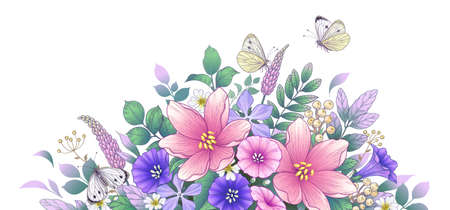 Hand drawn blooming pink and purple flowers and butterflies on white Stock Illustratie
