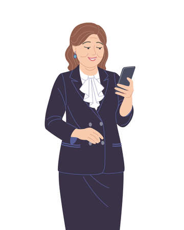 Happy senior business woman in a dark suit isolated on white background. Elderly businesswoman with smartphone. Concept of using modern device in daily and business life. Vector flat illustration.