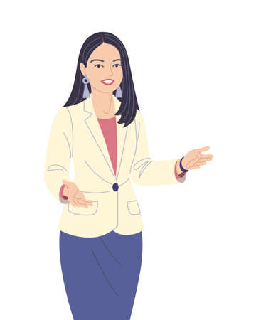 Young business woman isolated on white background. Office worker demonstrate business mutual relations or friendship. Presentation, communication or inviting to event. Vector flat illustration.