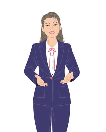 Confident speaking woman in blue suit isolated on white. Spokesperson at lecture, workshop, seminar. Presentation, communication or inviting to event. Business woman vector flat cartoon character. Stock Illustratie