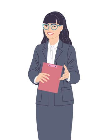 Confident speaking woman in gray suit isolated on white. Spokesperson at lecture, workshop, seminar. Presentation, communication or inviting to event. Business woman vector flat cartoon character. Stock Illustratie