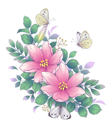 Hand drawn pink flowers bunch, flying and sitting butterflies isolated on white. Vector elegant floral arrangement in vintage style, t-shirt, tattoo design, wedding decoration.