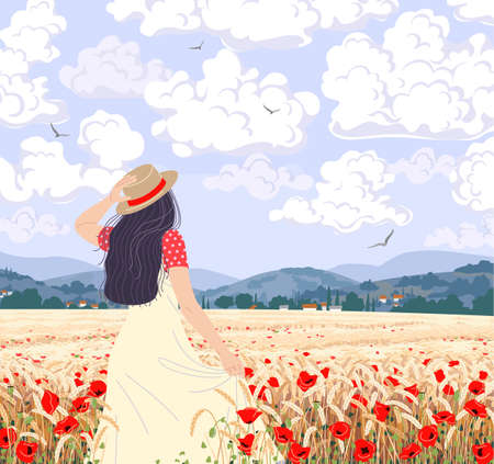 Young woman enjoys the wheat field scenery. Dreamy girl in straw hat walking among ripe wheat ears and red poppy. Calm summer landscape with hills, clouds and flying birds in sky. Vector illustration. Stock Illustratie