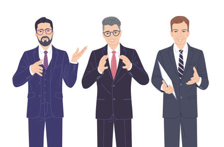 Confident speaking men in strict clothes isolated on white. Friendly business men in formal suits, spokesperson at lecture, workshop, seminar. Group of people vector flat cartoon characters.
