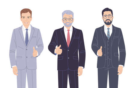 Confident men in strict clothes isolated on white. Elderly and young friendly business men in formal suits showing thumb up hand sign gesture. Group of people vector flat cartoon characters. Stock Illustratie