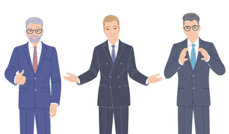 Confident speaking men in strict clothes isolated on white. Elderly and young friendly business men in formal suits, spokesperson at lecture, seminar. Group of people vector flat cartoon characters.